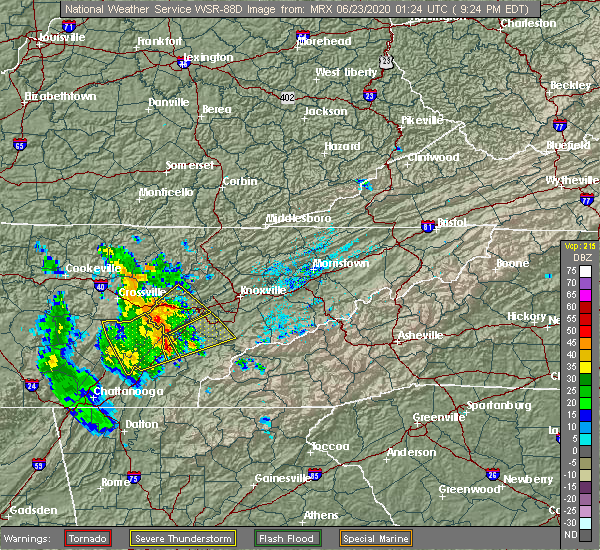 Radar Image for Severe Thunderstorms near Athens, TN at 6/22/2020 9:37 PM EDT