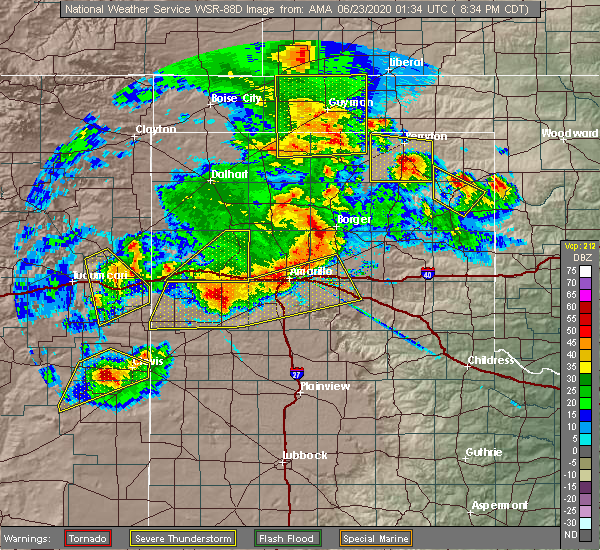 Radar Image for Severe Thunderstorms near Fritch, TX at 6/22/2020 8:38 PM CDT