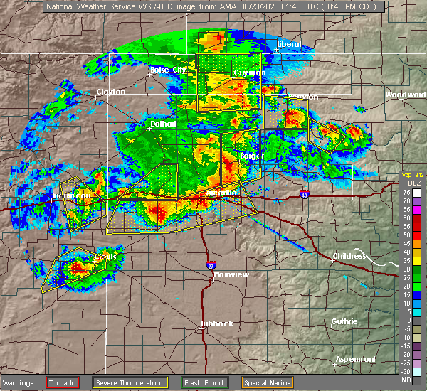 Radar Image for Severe Thunderstorms near Fritch, TX at 6/22/2020 8:46 PM CDT