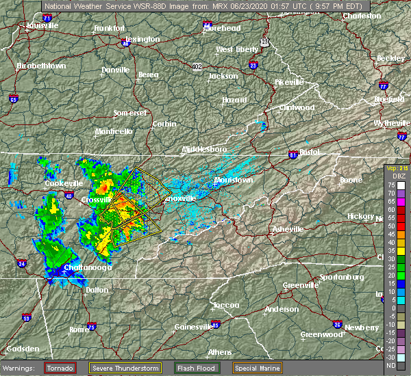 Radar Image for Severe Thunderstorms near Andersonville, TN at 6/22/2020 9:59 PM EDT