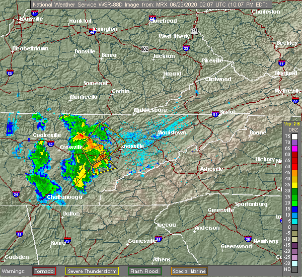Radar Image for Severe Thunderstorms near Coalfield, TN at 6/22/2020 10:13 PM EDT