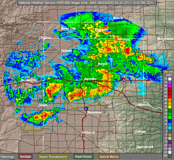 Radar Image for Severe Thunderstorms near Perryton, TX at 6/22/2020 9:38 PM CDT