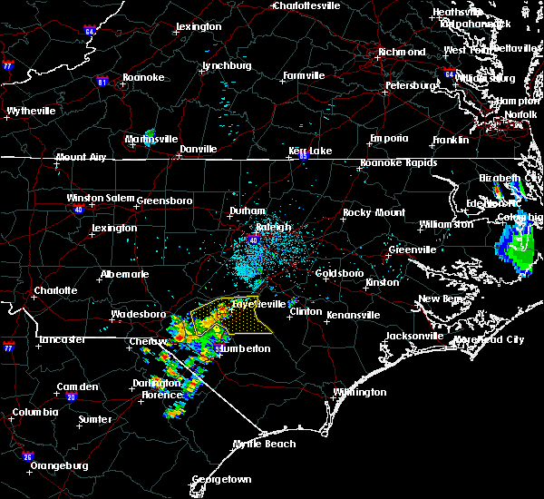 Radar Image for Severe Thunderstorms near Hope Mills, NC at 6/22/2020 10:52 PM EDT