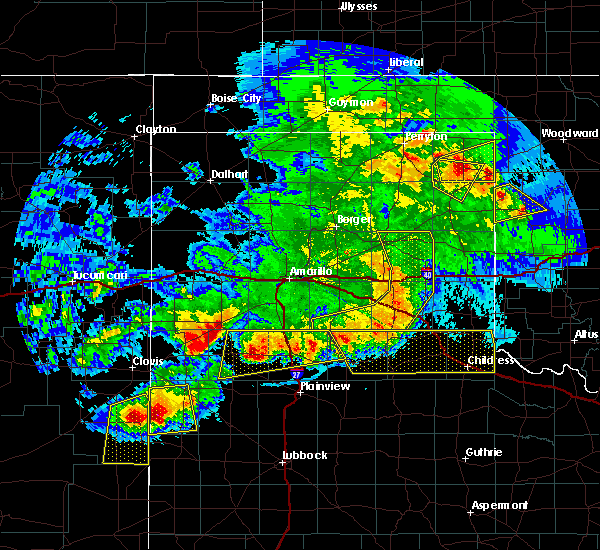Radar Image for Severe Thunderstorms near Lakeview, TX at 6/22/2020 10:00 PM CDT