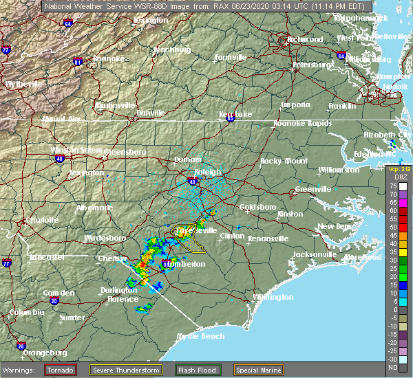 Radar Image for Severe Thunderstorms near Eastover, NC at 6/22/2020 11:23 PM EDT