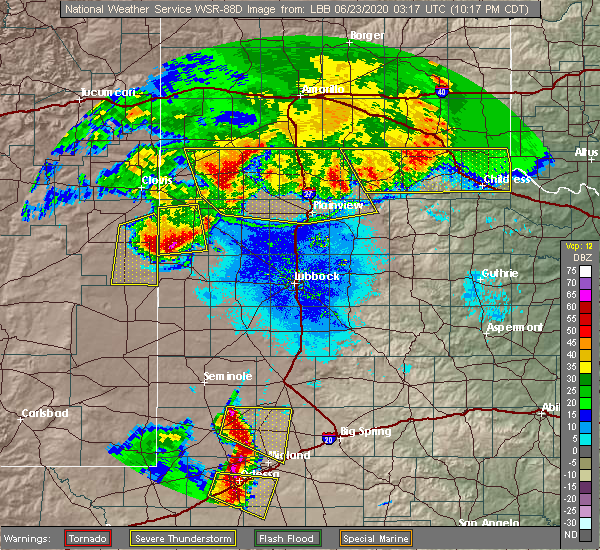 Radar Image for Severe Thunderstorms near Morton, TX at 6/22/2020 10:27 PM CDT