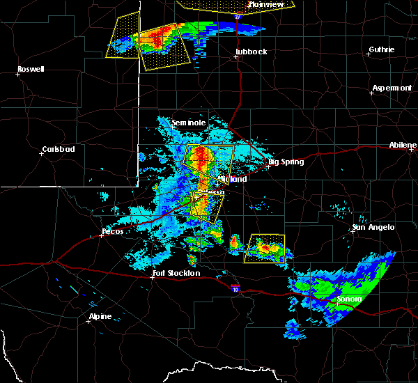 Radar Image for Severe Thunderstorms near Odessa, TX at 6/22/2020 10:39 PM CDT