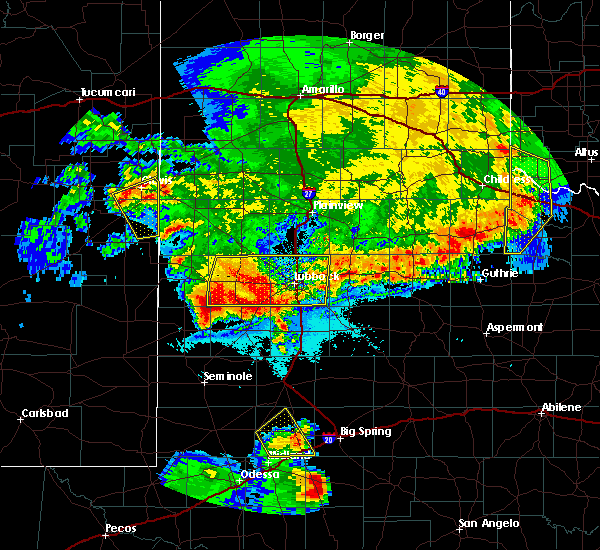 Radar Image for Severe Thunderstorms near New Deal, TX at 6/22/2020 11:54 PM CDT