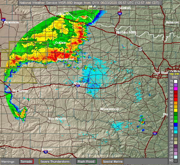 Radar Image for Severe Thunderstorms near Rochester, TX at 6/23/2020 1:03 AM CDT