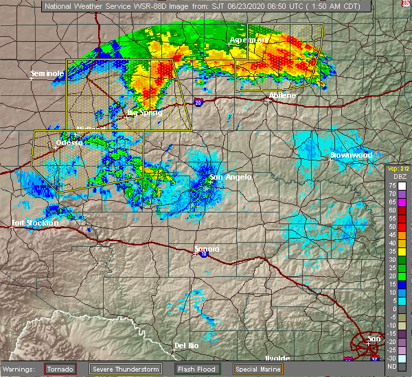 Radar Image for Severe Thunderstorms near Loraine, TX at 6/23/2020 1:58 AM CDT