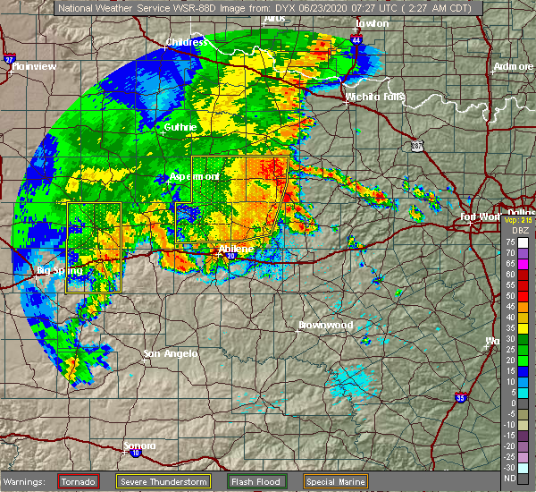 Radar Image for Severe Thunderstorms near Lueders, TX at 6/23/2020 2:32 AM CDT