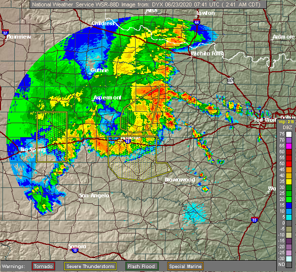Radar Image for Severe Thunderstorms near Lawn, TX at 6/23/2020 2:45 AM CDT