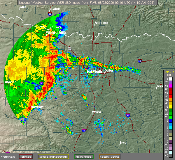 Radar Image for Severe Thunderstorms near Mineral Wells, TX at 6/23/2020 4:14 AM CDT