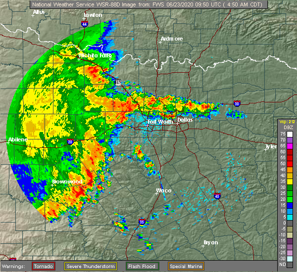 Radar Image for Severe Thunderstorms near Fort Worth, TX at 6/23/2020 4:56 AM CDT