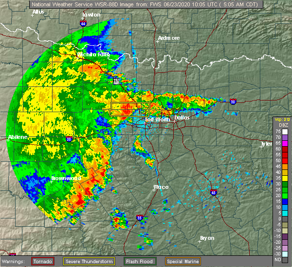 Radar Image for Severe Thunderstorms near Weatherford, TX at 6/23/2020 5:12 AM CDT