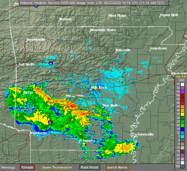 Radar Image for Severe Thunderstorms near Midway, AR at 6/23/2020 11:21 AM CDT