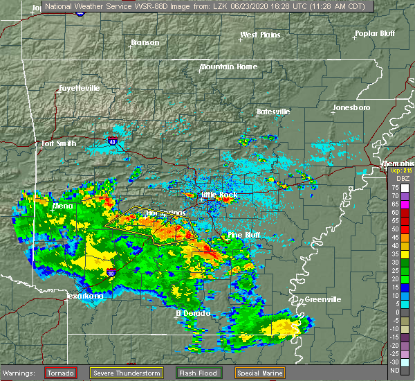 Radar Image for Severe Thunderstorms near Little Rock, AR at 6/23/2020 11:33 AM CDT