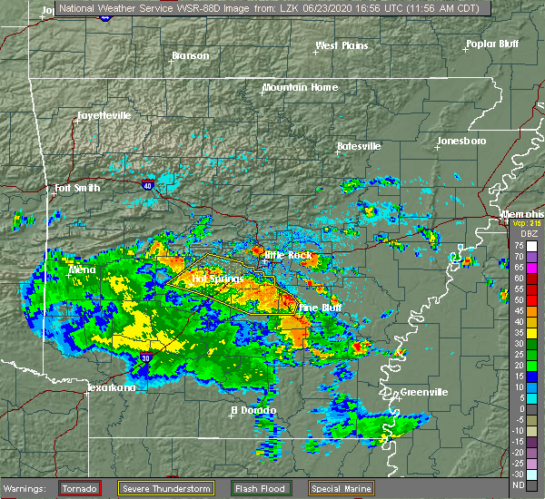 Radar Image for Severe Thunderstorms near Little Rock, AR at 6/23/2020 12:07 PM CDT