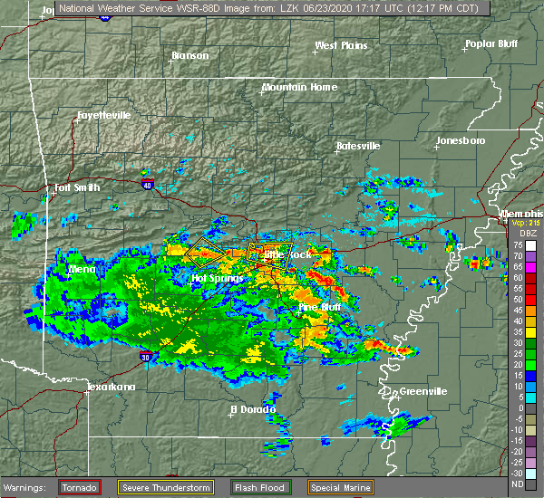 Radar Image for Severe Thunderstorms near Little Rock, AR at 6/23/2020 12:24 PM CDT