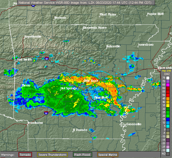 Radar Image for Severe Thunderstorms near Little Rock, AR at 6/23/2020 12:52 PM CDT