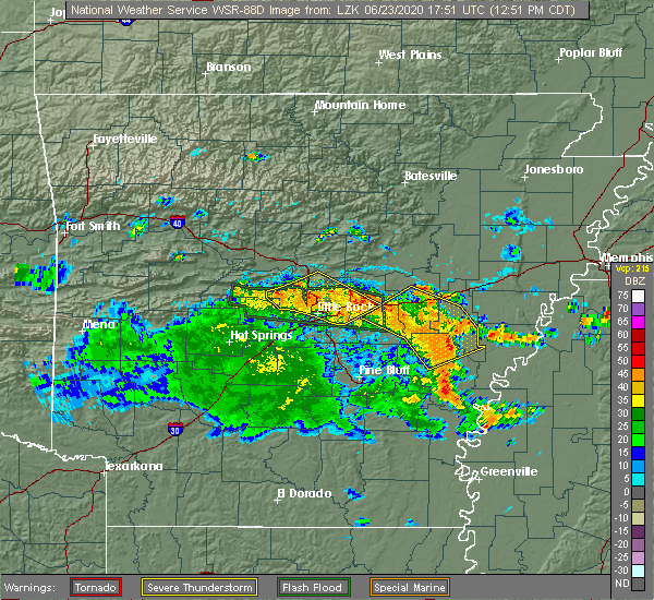 Radar Image for Severe Thunderstorms near Ward, AR at 6/23/2020 12:57 PM CDT