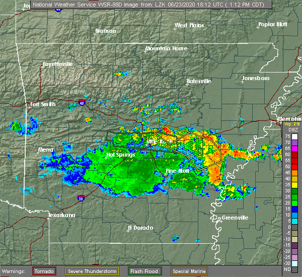 Radar Image for Severe Thunderstorms near Ward, AR at 6/23/2020 1:19 PM CDT