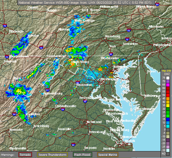 Radar Image for Severe Thunderstorms near Shepherdstown, WV at 6/23/2020 5:56 PM EDT