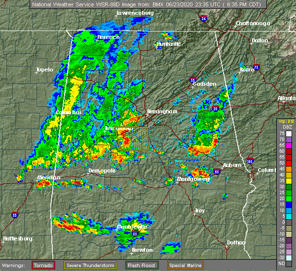 Radar Image for Severe Thunderstorms near West Blocton, AL at 6/23/2020 6:39 PM CDT