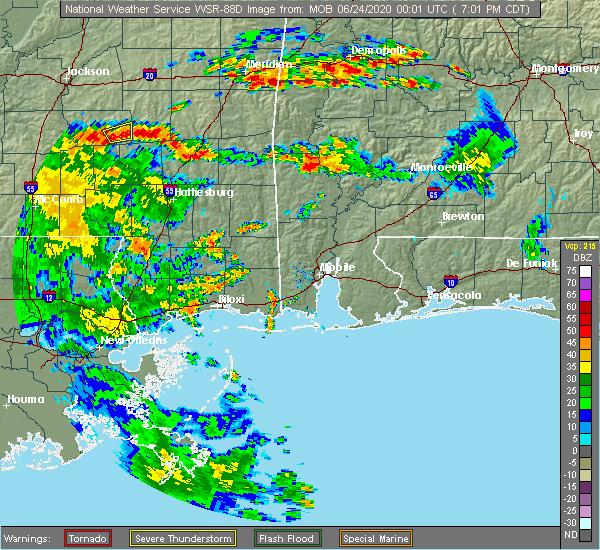 Radar Image for Severe Thunderstorms near Chatom, AL at 6/23/2020 7:05 PM CDT