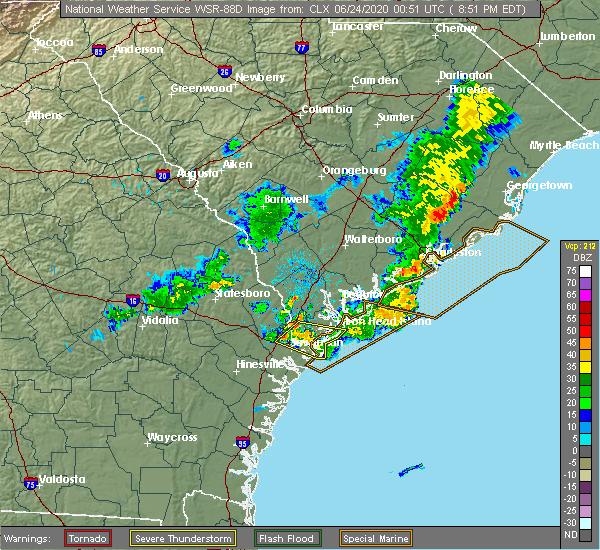 Radar Image for Severe Thunderstorms near Garden City, GA at 6/23/2020 8:55 PM EDT
