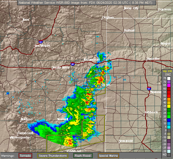 Radar Image for Severe Thunderstorms near Texico, NM at 6/23/2020 8:42 PM MDT