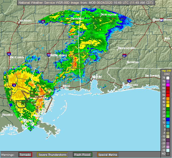 Radar Image for Severe Thunderstorms near State Line, MS at 6/24/2020 11:56 AM CDT