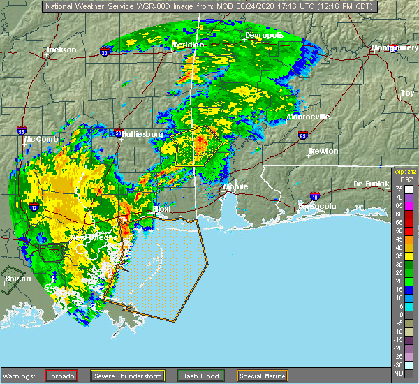 Radar Image for Severe Thunderstorms near State Line, MS at 6/24/2020 12:20 PM CDT
