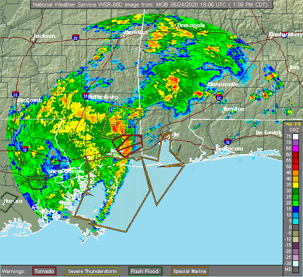 Radar Image for Severe Thunderstorms near Spanish Fort, AL at 6/24/2020 1:12 PM CDT