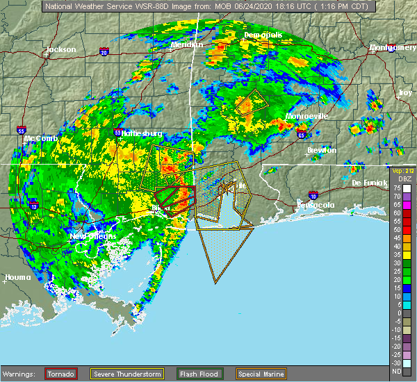 Radar Image for Severe Thunderstorms near Spanish Fort, AL at 6/24/2020 1:22 PM CDT