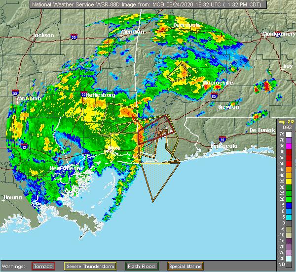 Radar Image for Severe Thunderstorms near Fruitdale, AL at 6/24/2020 1:37 PM CDT