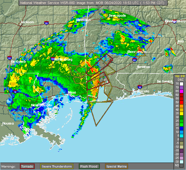 Radar Image for Severe Thunderstorms near Spanish Fort, AL at 6/24/2020 1:56 PM CDT
