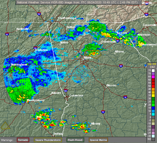 Radar Image for Severe Thunderstorms near Duluth, GA at 6/24/2020 2:56 PM EDT