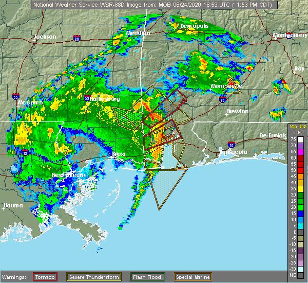 Radar Image for Severe Thunderstorms near Leakesville, MS at 6/24/2020 1:58 PM CDT