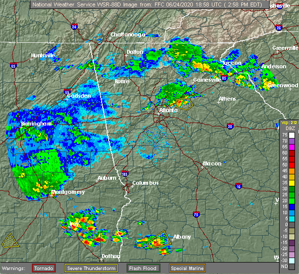 Radar Image for Severe Thunderstorms near Loganville, GA at 6/24/2020 3:01 PM EDT