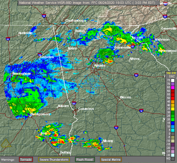 Radar Image for Severe Thunderstorms near Loganville, GA at 6/24/2020 3:10 PM EDT