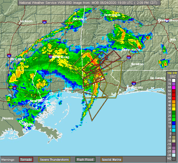 Radar Image for Severe Thunderstorms near Spanish Fort, AL at 6/24/2020 2:11 PM CDT
