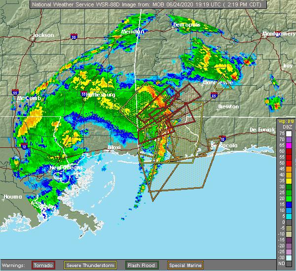 Radar Image for Severe Thunderstorms near Chatom, AL at 6/24/2020 2:21 PM CDT