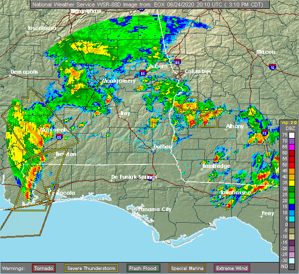 Radar Image for Severe Thunderstorms near Richland, GA at 6/24/2020 4:21 PM EDT