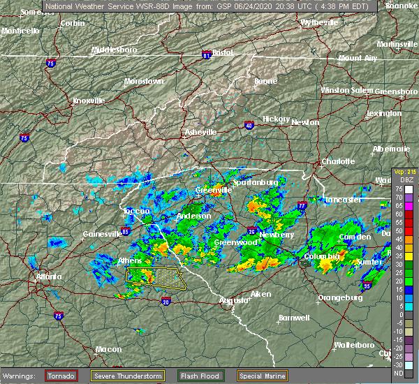 Radar Image for Severe Thunderstorms near Washington, GA at 6/24/2020 4:44 PM EDT