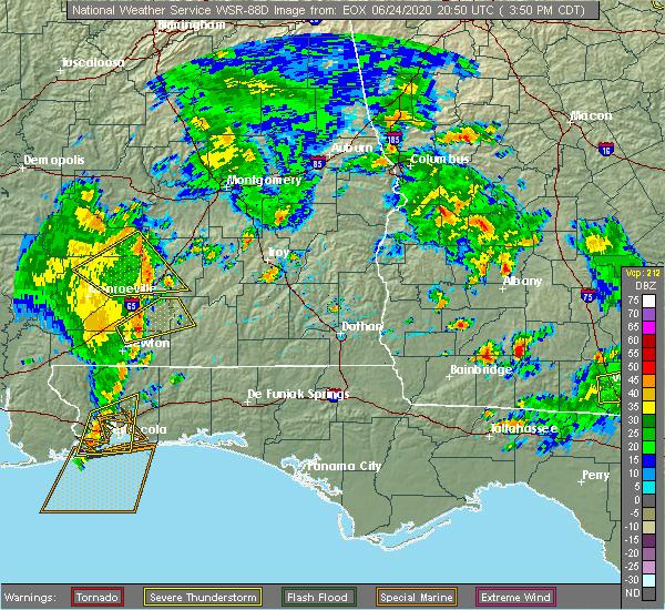 Radar Image for Severe Thunderstorms near Georgiana, AL at 6/24/2020 3:57 PM CDT