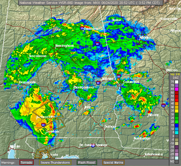 Radar Image for Severe Thunderstorms near Georgiana, AL at 6/24/2020 4:00 PM CDT