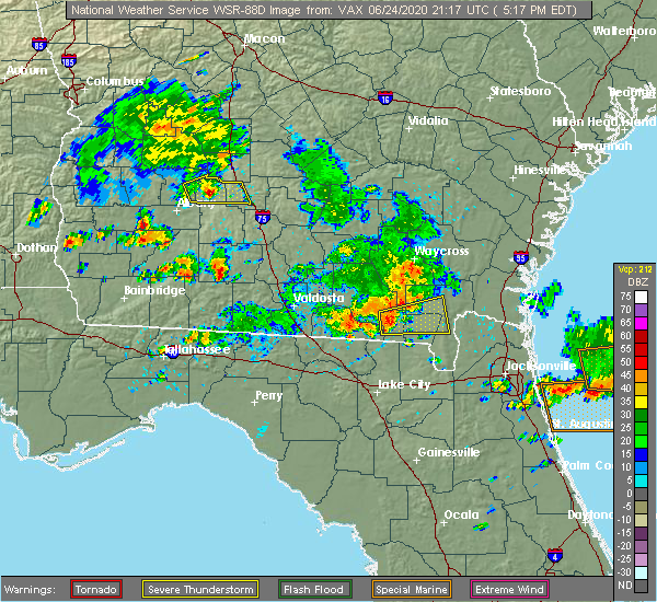 Radar Image for Severe Thunderstorms near Fargo, GA at 6/24/2020 5:23 PM EDT
