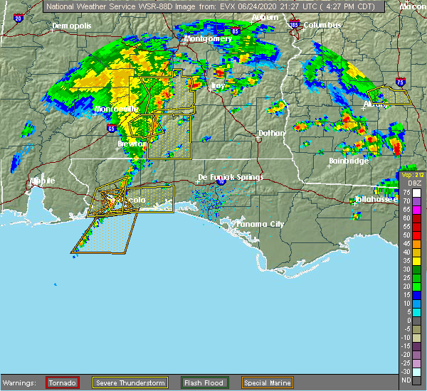 Radar Image for Severe Thunderstorms near Midway, FL at 6/24/2020 4:30 PM CDT