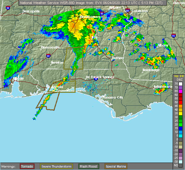 Radar Image for Severe Thunderstorms near Midway, FL at 6/24/2020 5:19 PM CDT